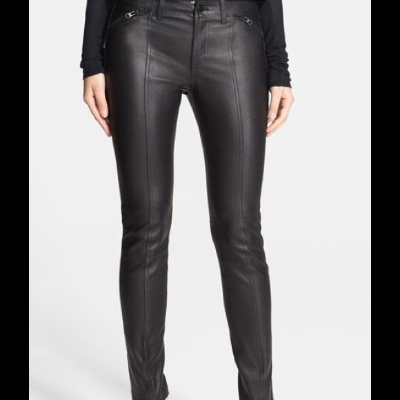 0d553851f97ae SALE LOWEST VINCE Black Leather Leggings Pants NWT Stretchy lambskin  leather leggings with center seam and zip pockets are a true classic piece.