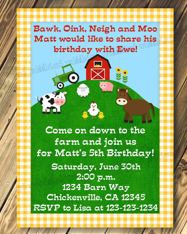 Farm Barnyard Animals Gingham Birthday Party Invitation Print Your ...