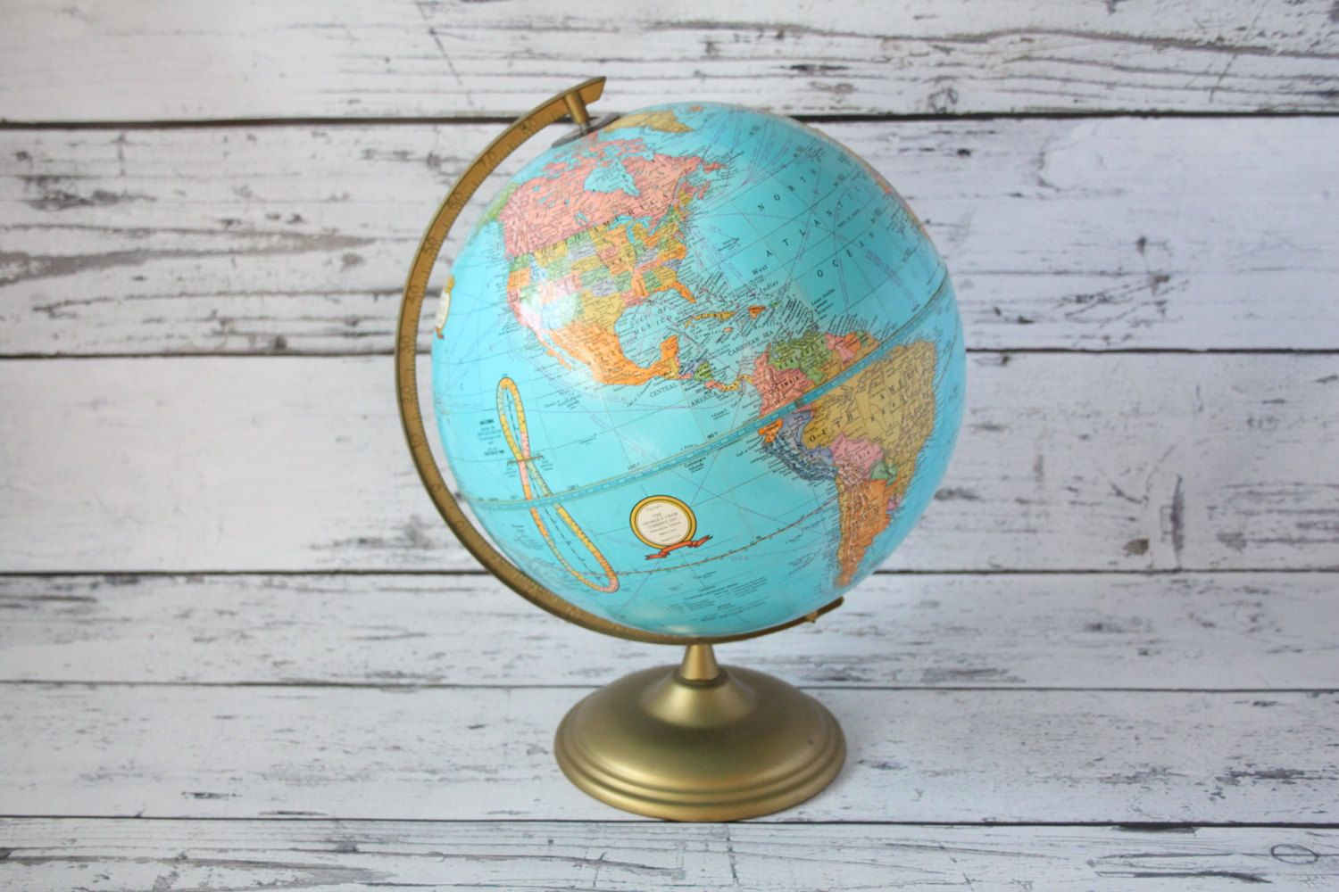 Vintage crams imperial world globe blue color brass color metal vintage crams imperial world globe blue color brass color metal base george cram 12 earth tabletop rotating russia map by gumiabroncs Choice Image