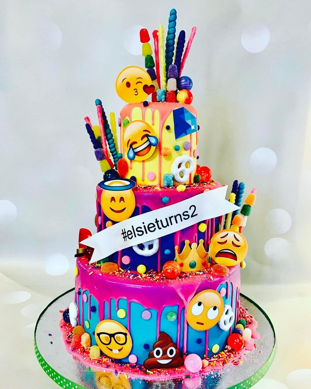 Emoji Cake Happy Faces 9th Birthday Ideas Unicorn