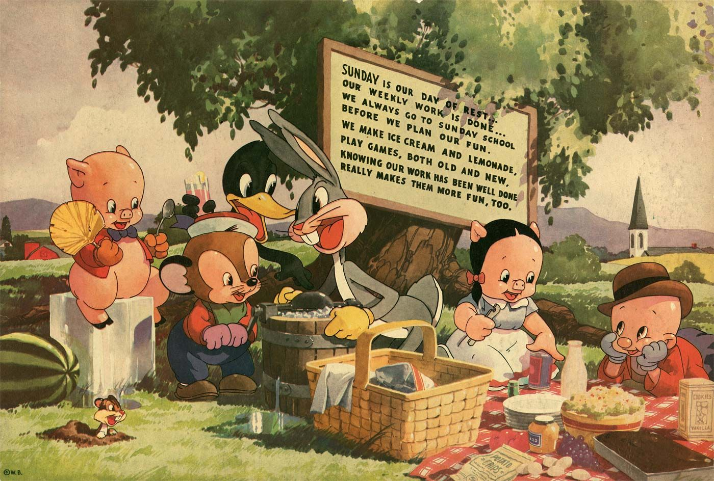 Vintage Greeting Post Card Porky Pig Looney Tunes
