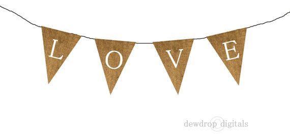 printable burlap love bunting banner instant download wedding shower