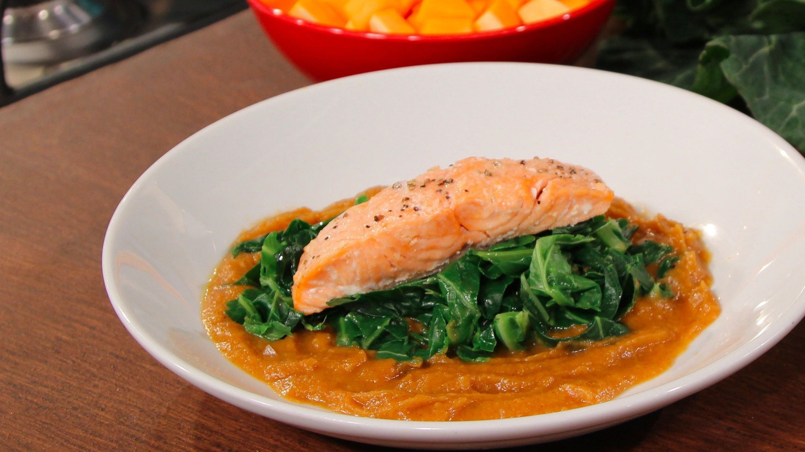 Salmon with spiced squash puree and greens