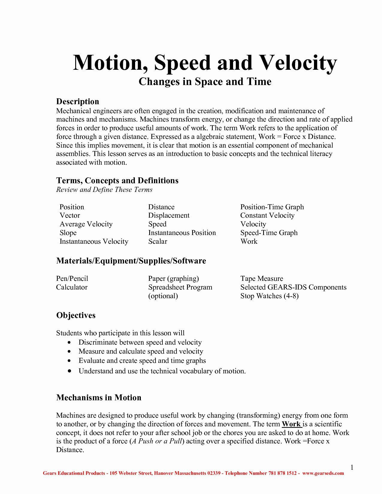 Displacement Velocity And Acceleration Worksheet Speed