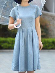 $15.24 Retro Style Round Collar Short Sleeve Solid Color Ruffles Design Denim Dress For Women