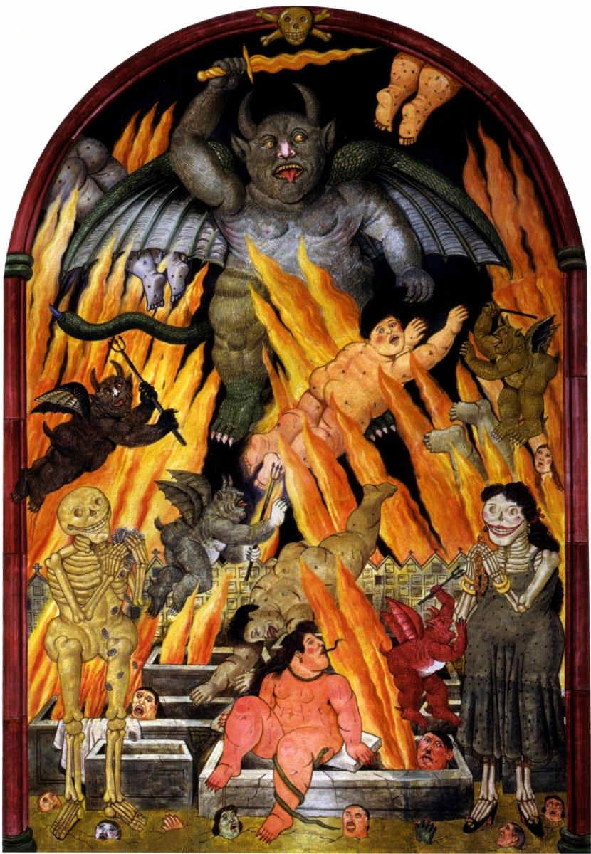 Gates of Hell (1973) by Colombian artist Fernando Botero (born 1932).