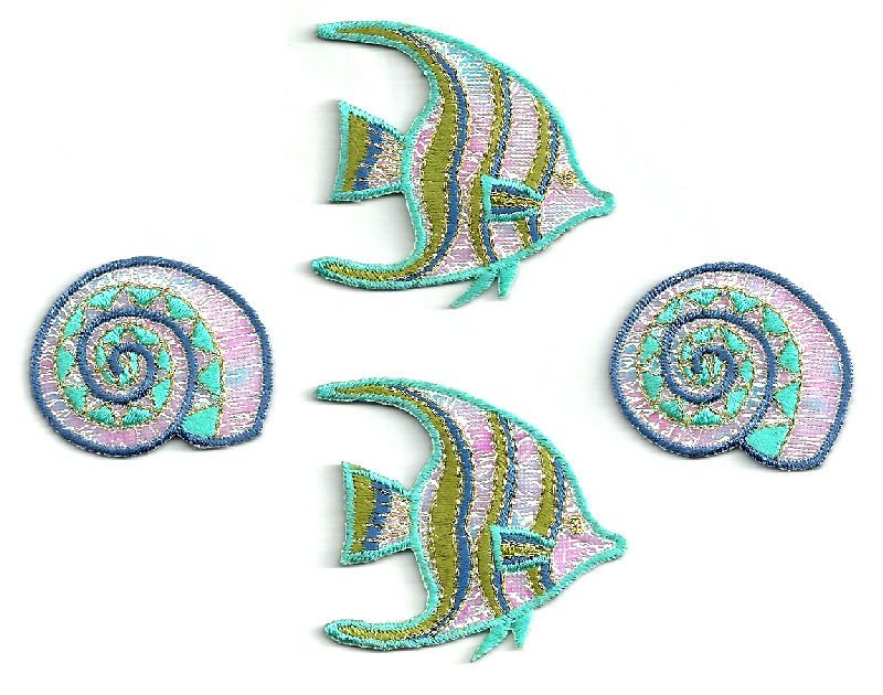 ( SET OF 4 )FISH W/SEASHELL - IRIDESCENT/EMBROIDERED IRON ON APPLIQUE PATCH