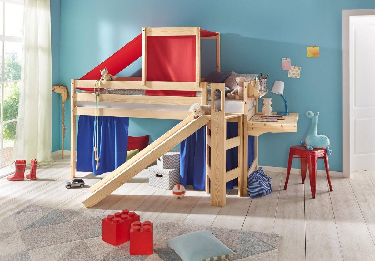 Hochbett, mit Rutsche und Podest Bett, Betten für kinder
