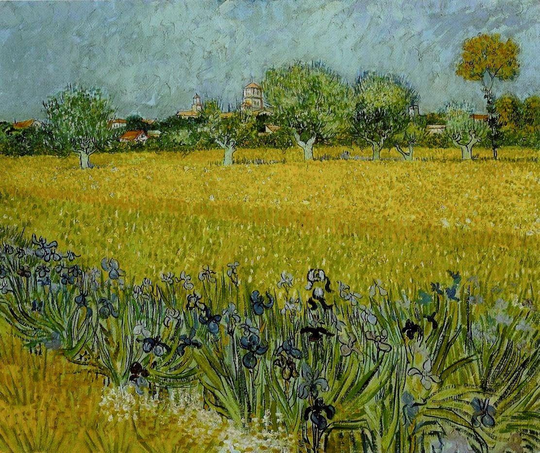 Field of Flowers Near Arles: 1888 by Vincent van Gogh (Van Gogh Museum, Amsterdam) - Post-Impressionism