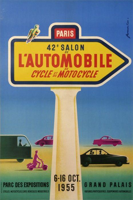 42 me salon de l automobile du cycle et du motocycle 1955 - Affiche salon de l auto ...