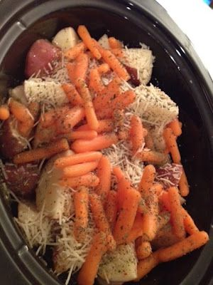 Italian Crockpot Chicken -4 Boneless Skinless Chicken Breasts  16 Ounce Bottle of Italian Dressing (I used non fat)  1/2 Cup of Parmesan Cheese  Italian Seasoning  4-6 Potatoes scrubbed cut in half or wedges (you can peel if desired)  1/2 bag of mini carrots