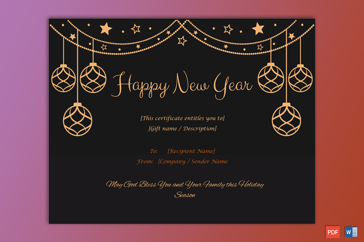 (New year Gift Certificate Template Light 1895) in 2020