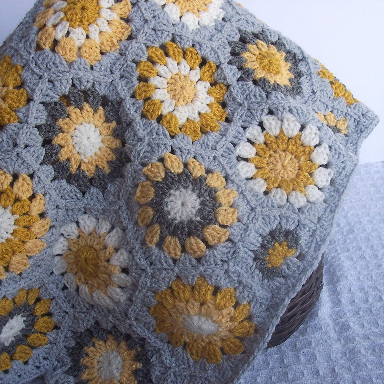 Crochet Hexagon Blanket- Granny Square Blanket- Grey Gray Decor- Mustard  Yellow Gray Cream 37 x 45