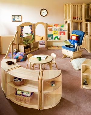 Sample Classrooms Great Look For Infants Like The Rounded Shelves Too Preschool Furniture Infant Classroom Preschool Designs