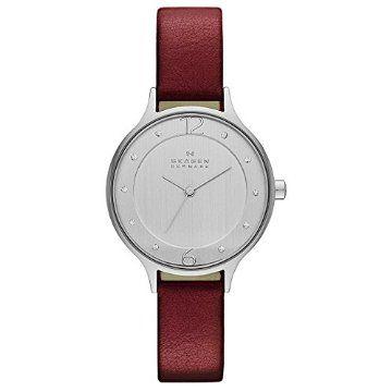 Skagen #Silver #Red #Leather #Women #Watch
