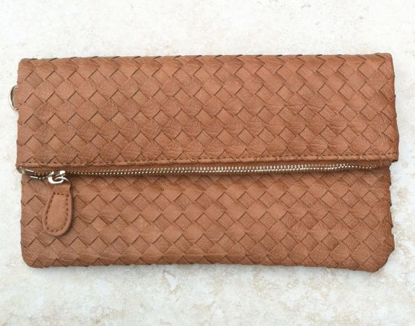 cognac brown woven leather foldover clutch with detachable wrist strap