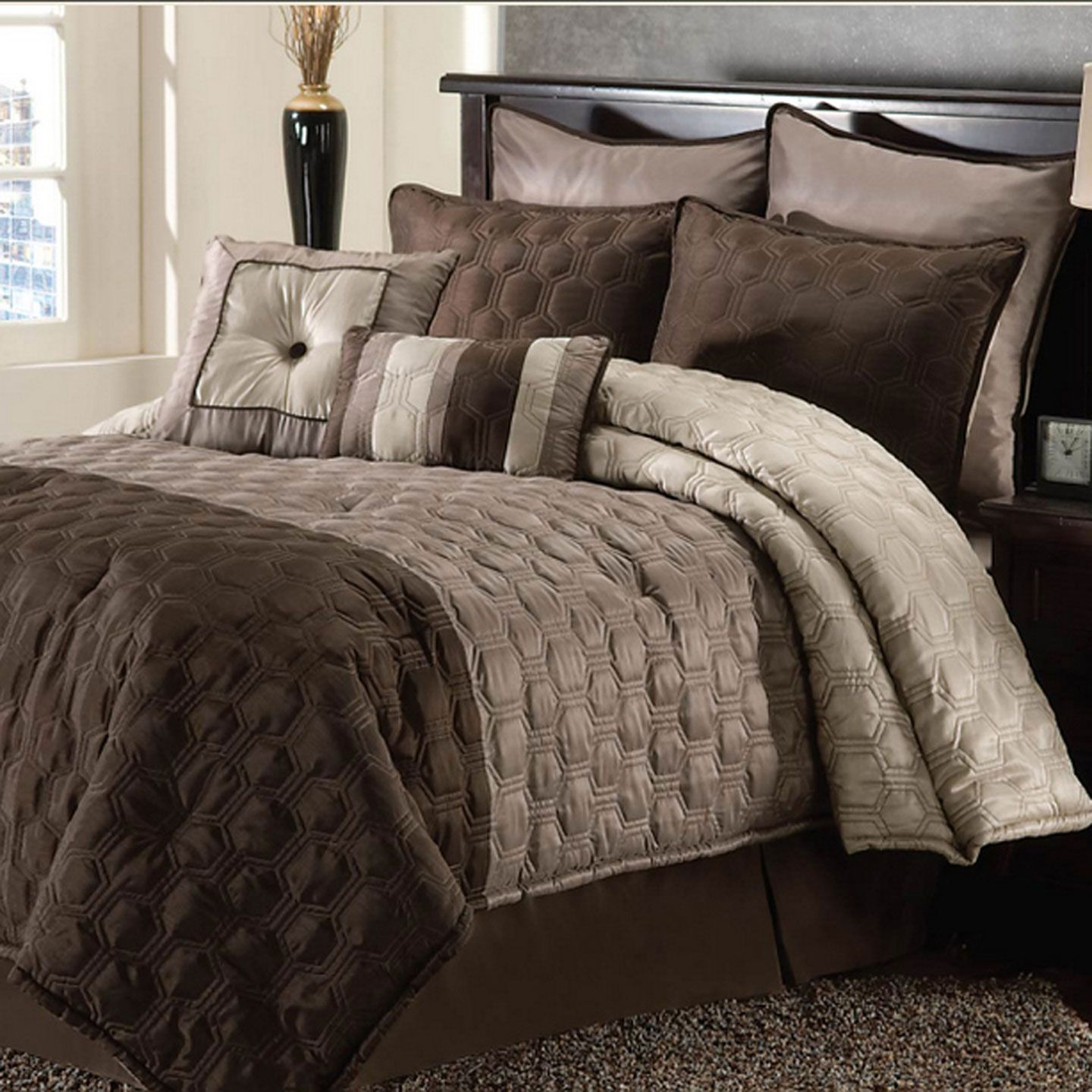 Master Bryan Keith Hamilton Eight Piece Comforter Set In Taupe And Chocolate Item Clahml8csn Brown Comforter Bedroom Comforter Sets Brown Comforter Sets