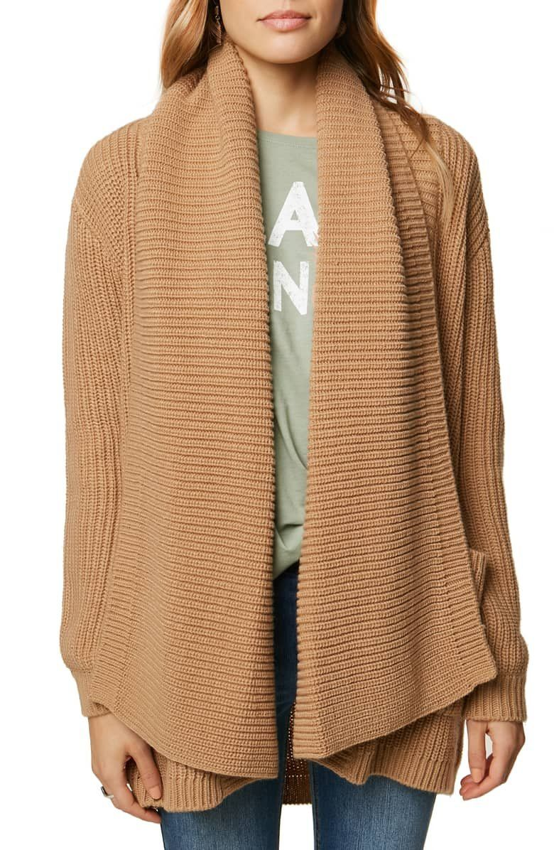 Stay cozy on cooler days in this oversized openfront cardigan