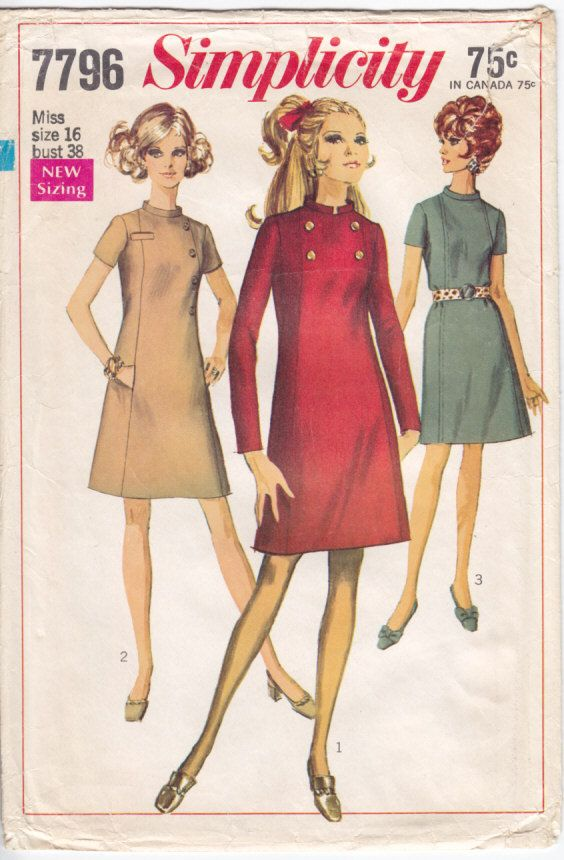 Vintage Pattern Simplicity 7796 Dress 60s Size 16 B38
