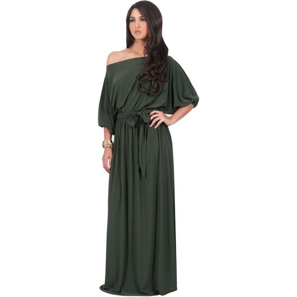 Koh Koh Macy Long Sundress - Olive Green One Shoulder Womens Maxi ...