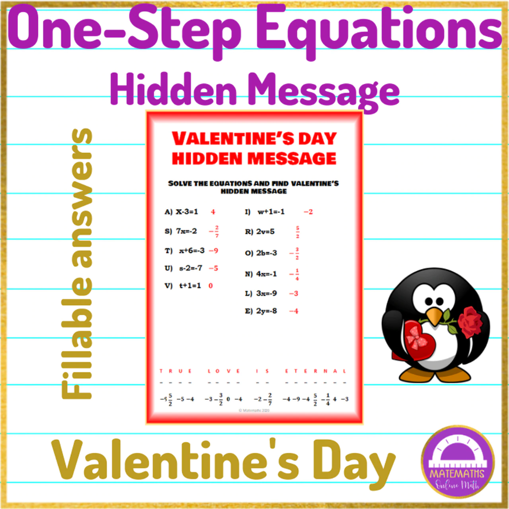 Valentine S Day One Step Equations Activity Hidden Message In 2021 One Step Equations Hidden Messages Equations [ 1000 x 1000 Pixel ]