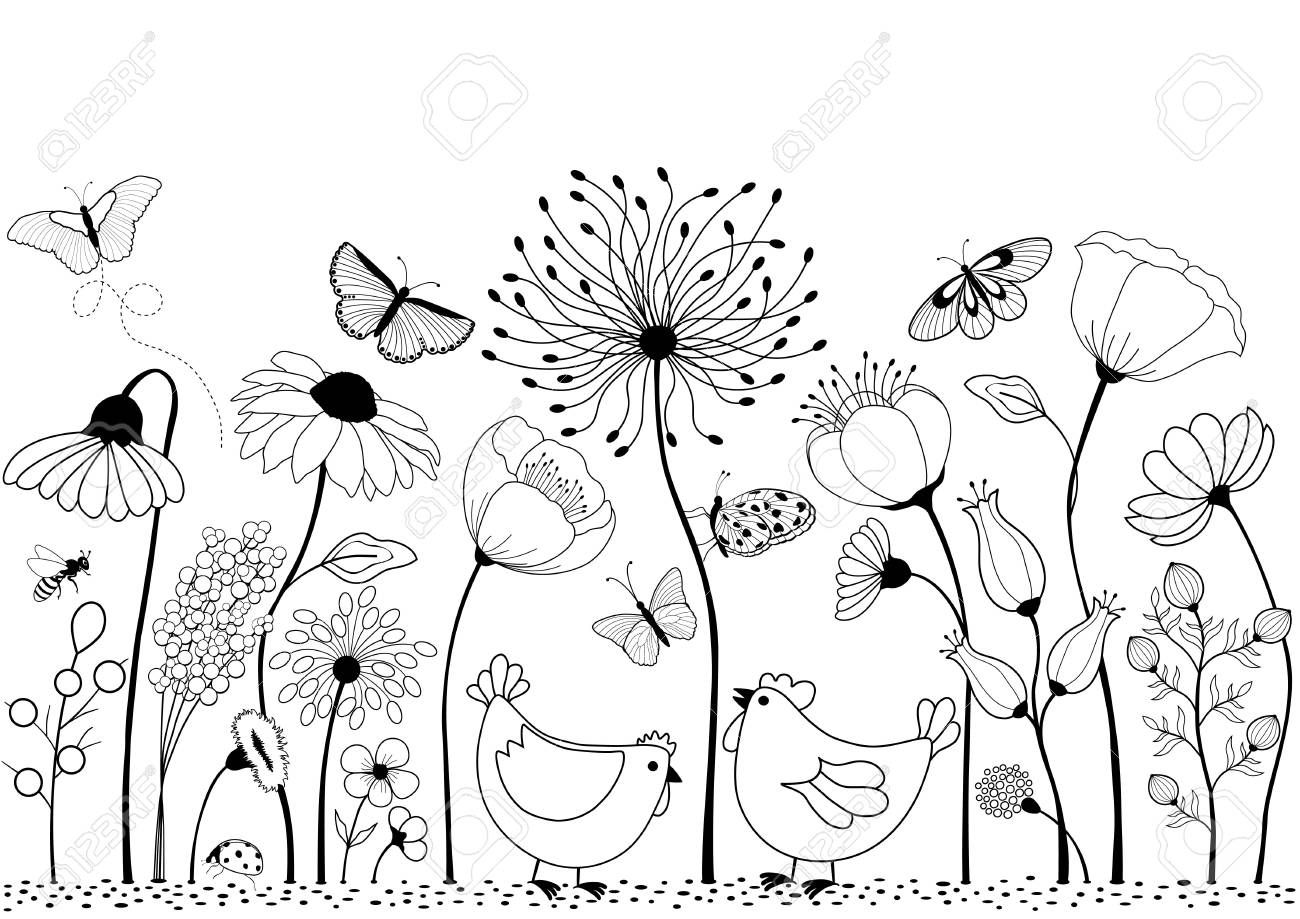 Card With Cute Cartoon Chicken Between Flowers For Your Design Stock Vector 79407764 Doodle Art Flowers Drawings Flower Drawing