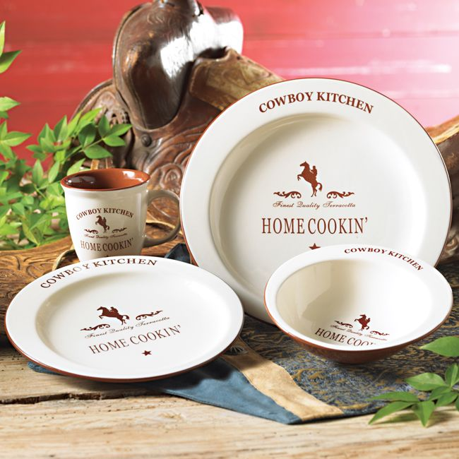 Cowboy Kitchen: Cowboy Kitchen Dinnerware Set - 16 Pcs - CLEARANCE