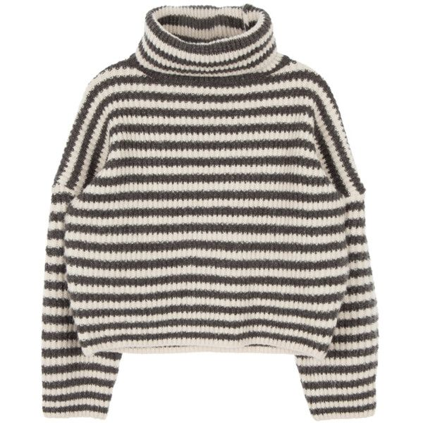 5f037b87355 Funnel Neck Knit Sweater ( 31) ❤ liked on Polyvore featuring tops