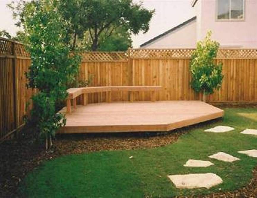 Landscaping and outdoor building backyard decking for Circular garden decking