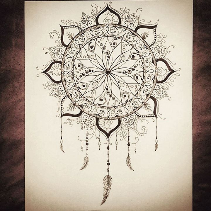 Dream Catching Free Hand Dreamcatcher Drawing Original Design Original Copy 11x14 On Heavy Mixed Media P Henna Designs Henna Tattoo Designs Henna Drawings