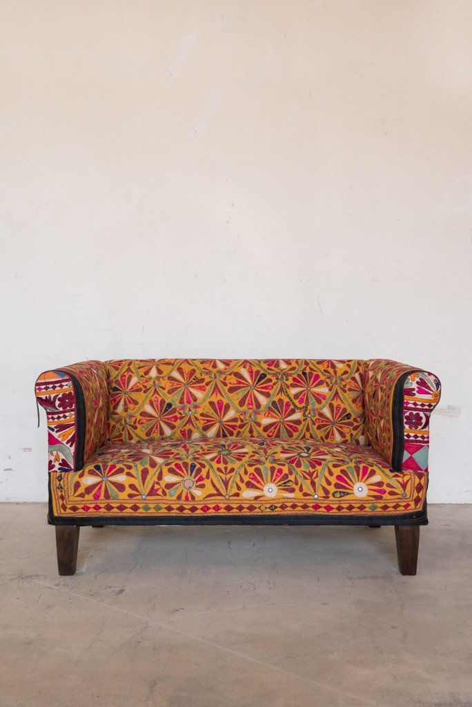 This One Of Three Two Seater Sofa Covered In Old Embroideries Is Handmade With Recycled Furniture Makeover Inspiration Sofa Makeover Dining Room Chair Cushions