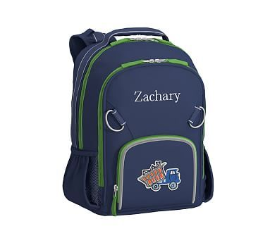 Small Backpack, Fairfax Solid Navy Green Trim, Truck