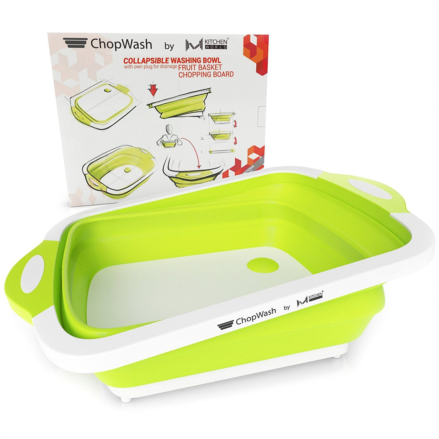Amazon com chopwash by m kitchen world collapsible dish tub cutting board chopping slicing washing bowl with own plug for drainage easy storage