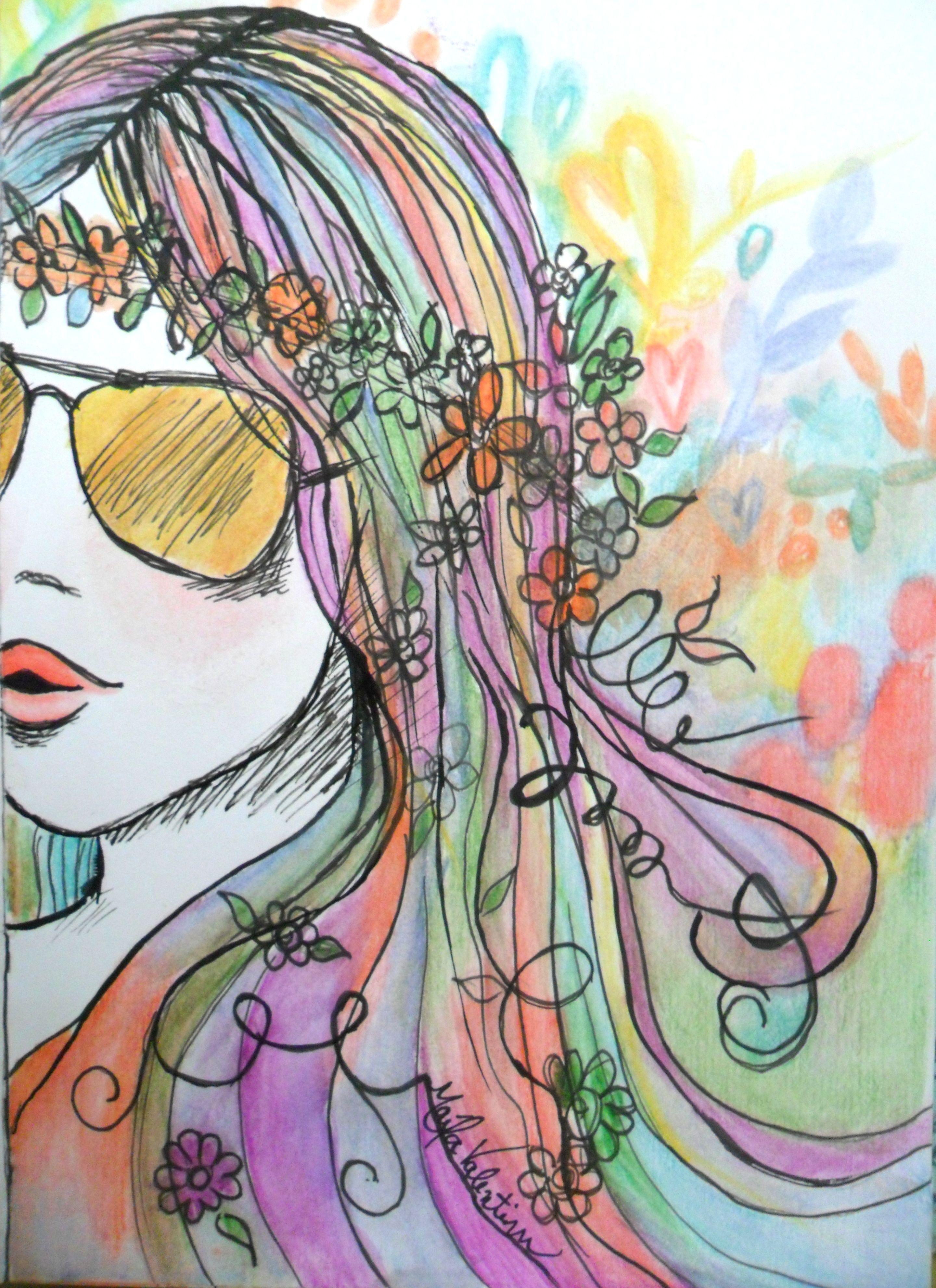 Desenho com caneta nanquim e aquarela - A5