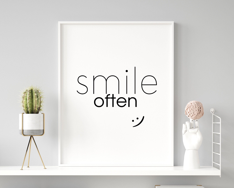 Smile Often Print Positive Quote Happy Quote Printable Art   Etsy