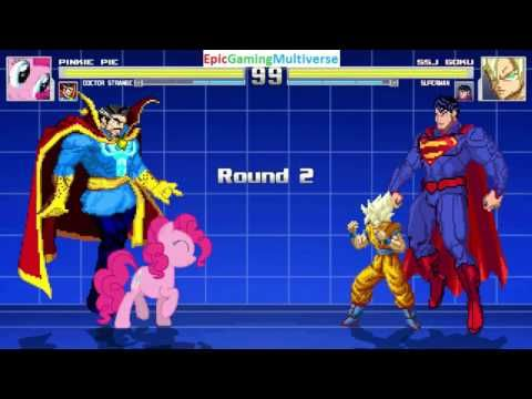 Doctor Strange And Pinkie Pie VS Superman And Super Saiyan Goku In A MUGEN Match / Battle / Fight This video showcases Gameplay of Super Saiyan Goku From The Dragon Ball Z / DBZ Series And Superman The Superhero VS Pinkie Pie From The My Little Pony Friendship Is Magic Series And Doctor Strange The Superhero In A MUGEN Match / Battle / Fight