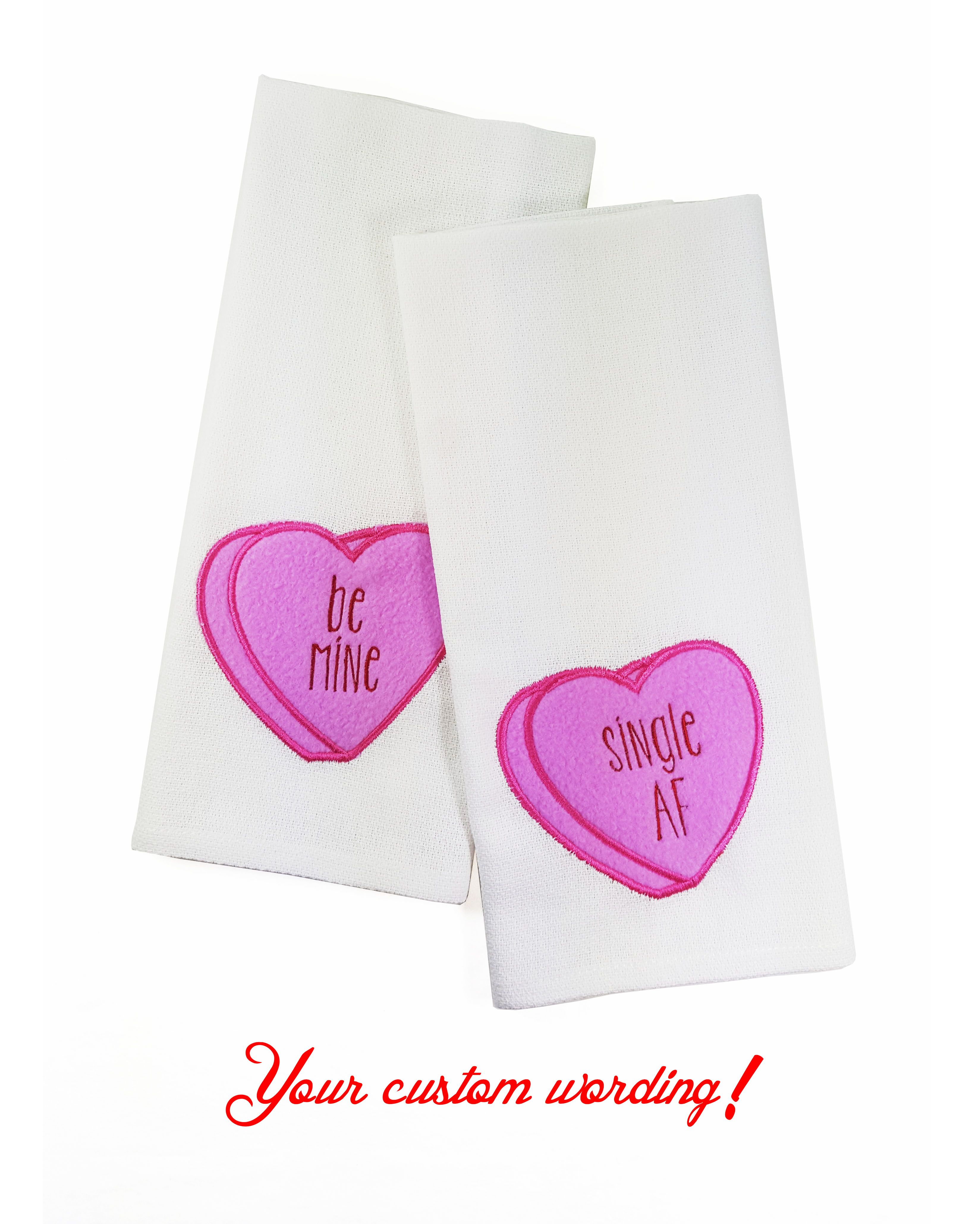 Conversation hearts kitchen towel personalized gifts