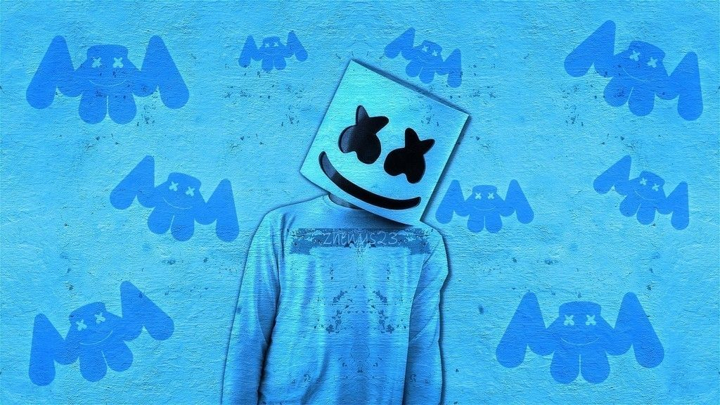 Marshmello, DJ, art, blue wallpaper Marshmello