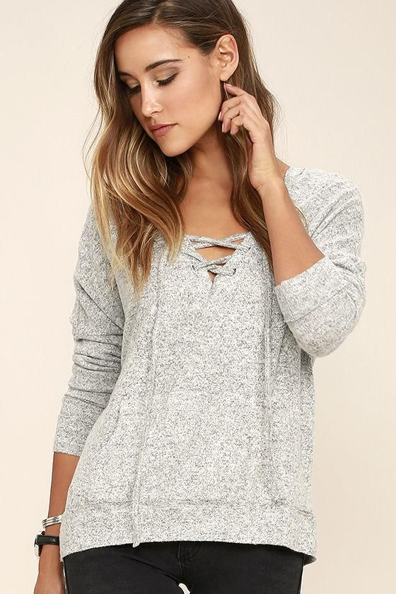 be2a607b1e Lulus - Lulus Slow Motion Heather Grey Lace-Up Hoodie - AdoreWe.com