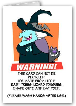 Don't recycle this funny Halloween card.  In fact, you may want to wash your hand.