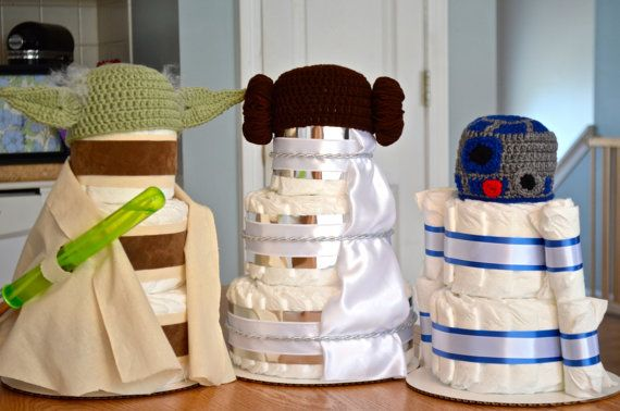 Superb Set Of 3 Star Wars Diaper Cakes Yoda By. Baby Shower ...