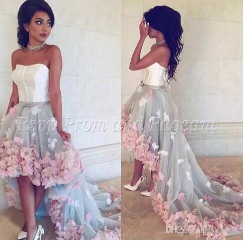 dd5e54e8585f1 Beautiful Oman 3D floral High Low Dubai Women Formal Evening Gowns ...