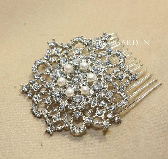 "2.6"" Freshwater Pearl Silver Vintage Style Ribbon Rhinestone Crystals Wedding Bridal Dress Hair CombBRH00113"