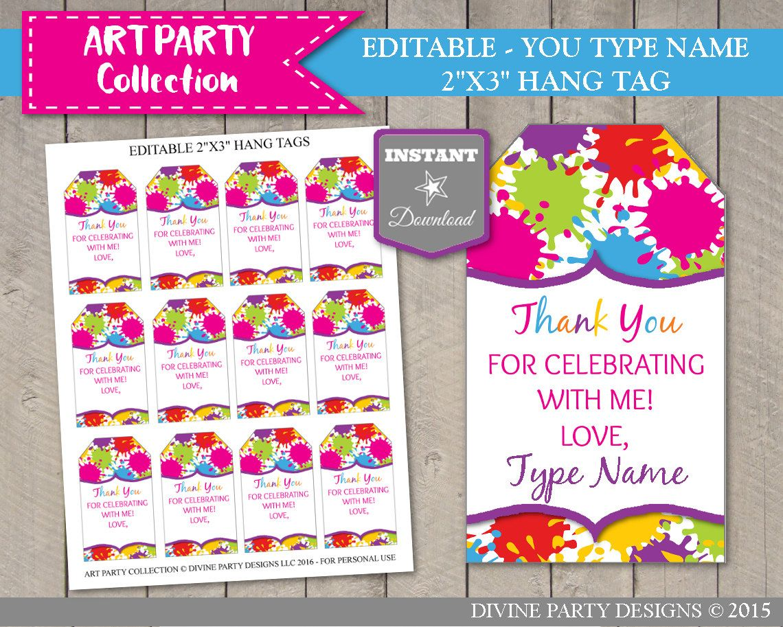 Instant Download Printable 2 X3 Editable Art Painting Party Thank