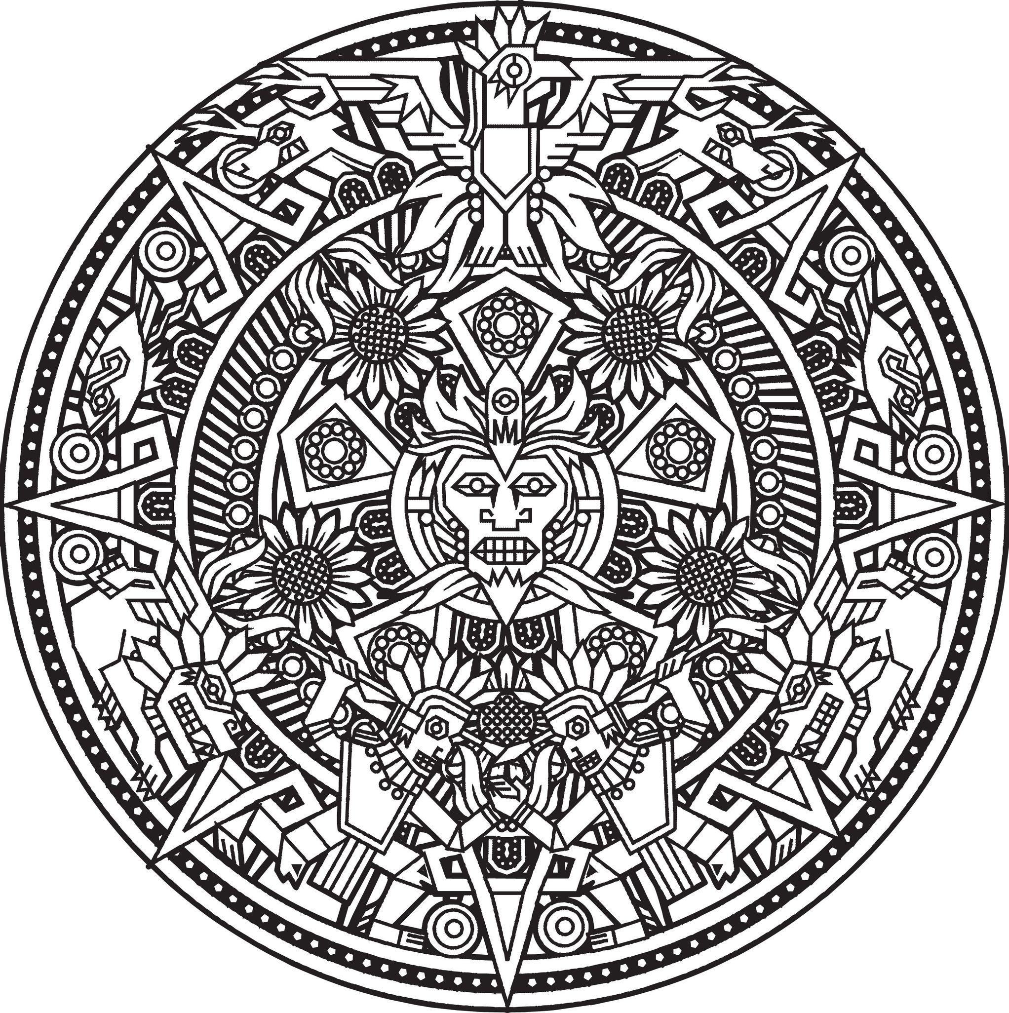Mandala Inca Or Maya God To Color Mandalas Coloring Pages For