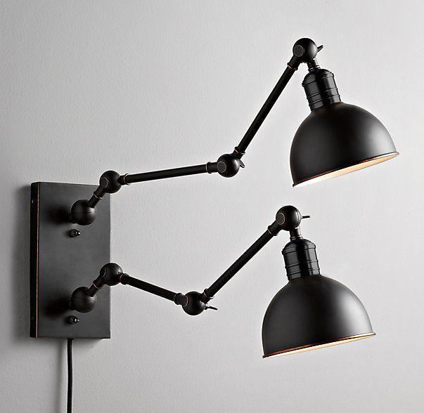 Brushed Steel Double Plug In Headboard Swing Arm Wall Lamp 13726 Lamps Plus Swing Arm Wall Lamps Plug In Wall Lamp Wall Lamp