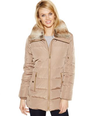 MICHAEL Michael Kors Faux-Fur-Collar Quilted Down Coat | Faux Fur ... : quilted fur coat - Adamdwight.com