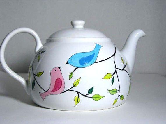 Love This Adorable Hand Painted Tea Pot Too Cute Tazas Pintadas Cer 225 Mica Pintada A Mano