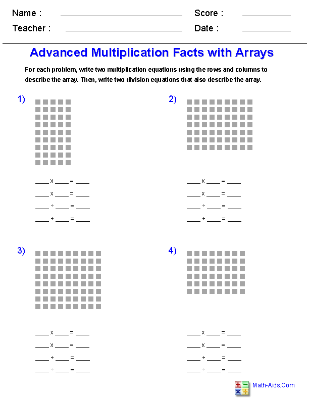 Advanced Multiplication Facts With Arrays Worksheets Multiplication Worksheets Free Printable Multiplication Worksheets Array Worksheets