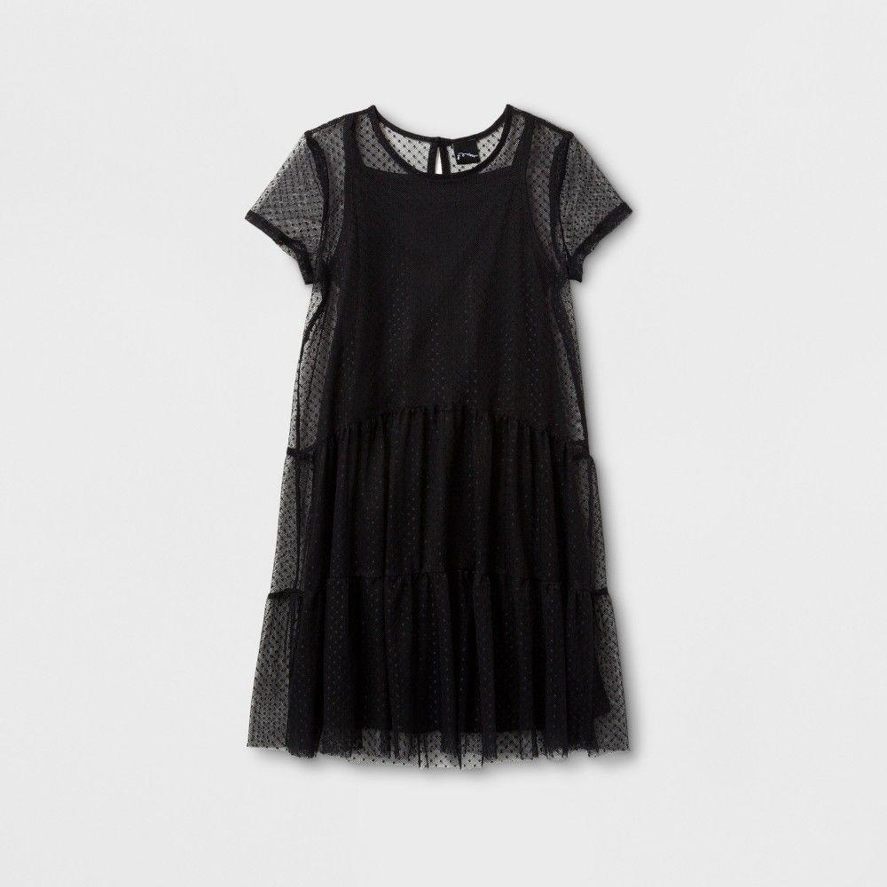 Girlsu swiss dot mesh dress art class black m swiss dot mesh